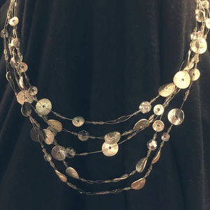 Jewelry - Gorgeous Silver Black Gold Medallion Layered Neckl